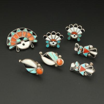 Southwestern Style Sterling Silver Gemstone Earrings and Sun Face Brooch