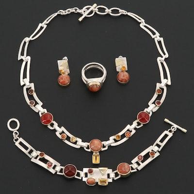 Sterling Silver Sunstone, Garnet, Citrine and Carnelian Jewelry Set