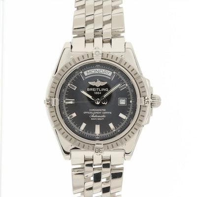 Breitling Headwind Stainless Steel Automatic Day-Date Wristwatch