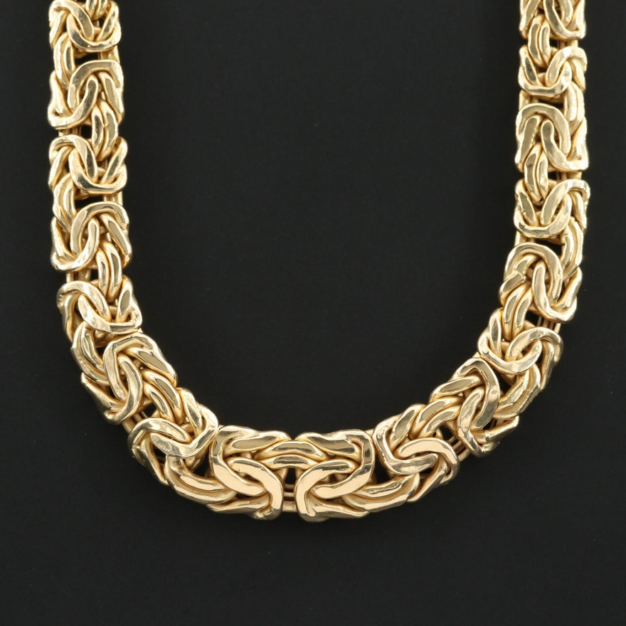 14K Yellow Gold Graduated Byzantine Chain Necklace