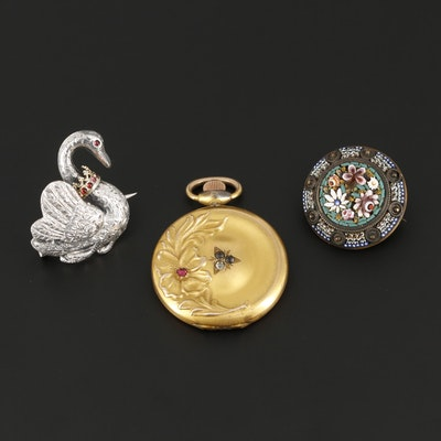 Vintage Gemstone Brooches and Locket Including Sterling Silver and Micro-Mosiac