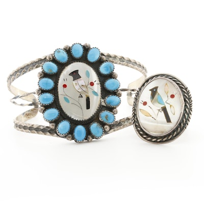 Southwestern Style Sterling Silver Shell and Gemstone Cuff Bracelet and Ring Set