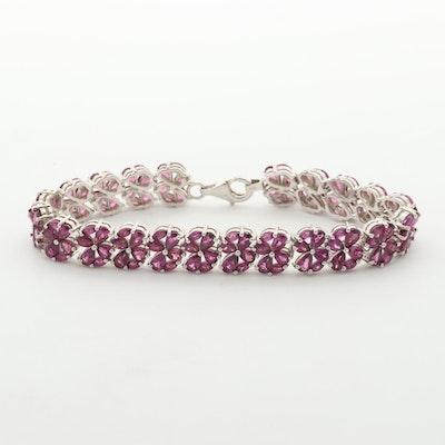Sterling Silver Garnet Floral Bracelet