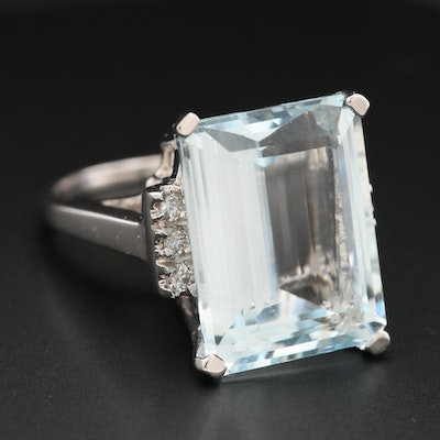 18K White Gold 14.76 CT Aquamarine and Diamond Ring