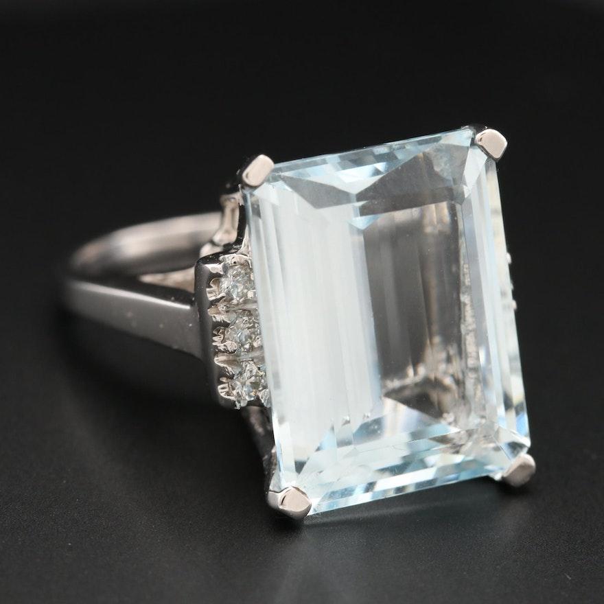 18K White Gold 14.76 CT Aquamarine and Diamond Ring
