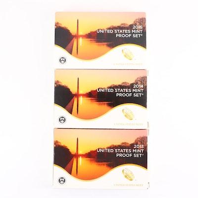 Three U.S. Mint Proof Sets, 2013 to 2015