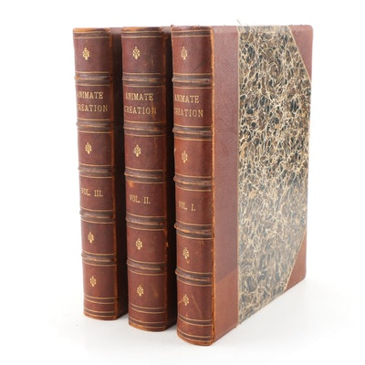 "Finely Bound ""Animate Creation"" by Joseph Holder, Three Volumes"