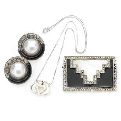 Sterling Silver Assorted Jewelry with Black Onyx, Mother of Pearl and Marcasite