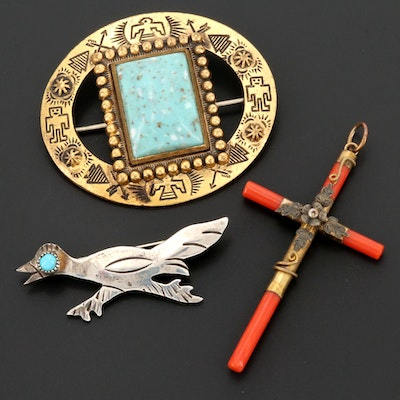Sterling Turquoise Road Runner, Coral and Glass Cross and Oval Brooches