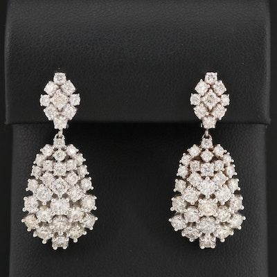 14K White Gold 5.02 CTW Diamond Drop Earrings