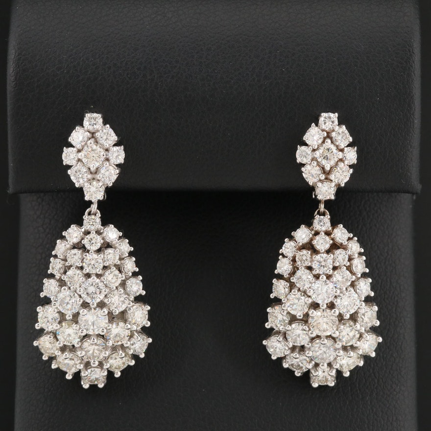 14K White Gold 5.02 CTW Diamond Drop Earrings