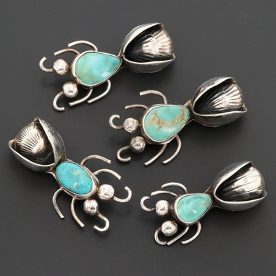 Sterling Silver Turquoise Bug Themed Stamp Work Brooches