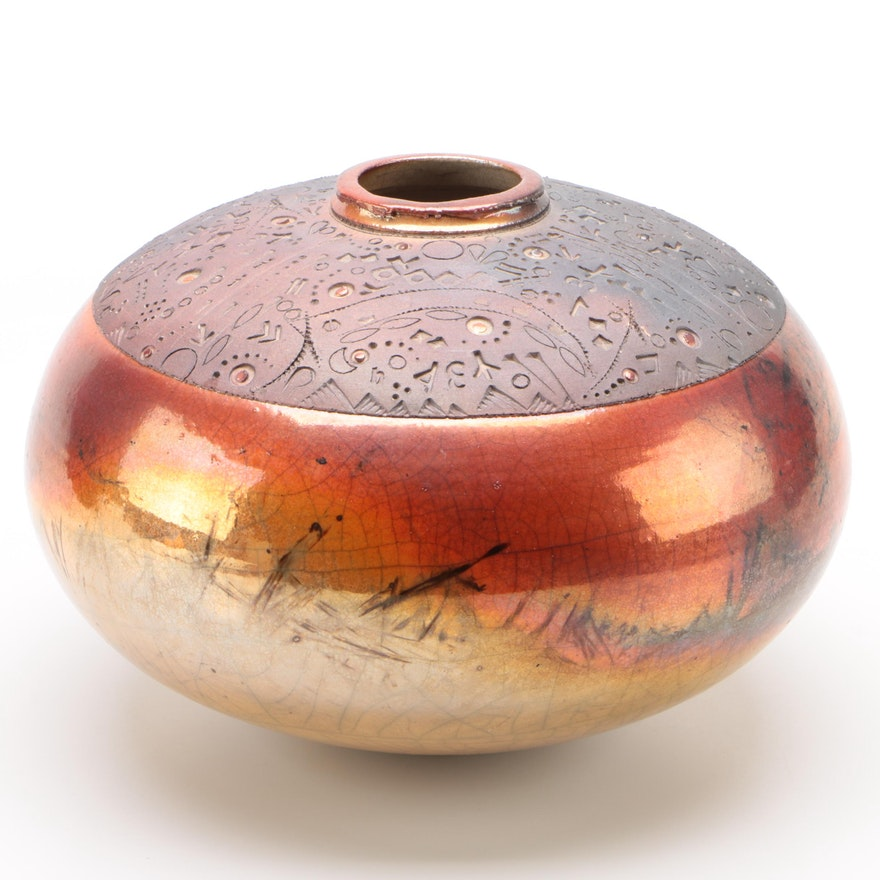 "Robert ""Bob"" Rainsford Smith Southwestern Raku Pottery Vessel"