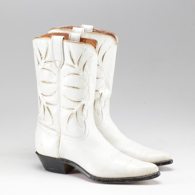 Acme White Leather Cowboy Boots with Metallic Gold Accents, Vintage