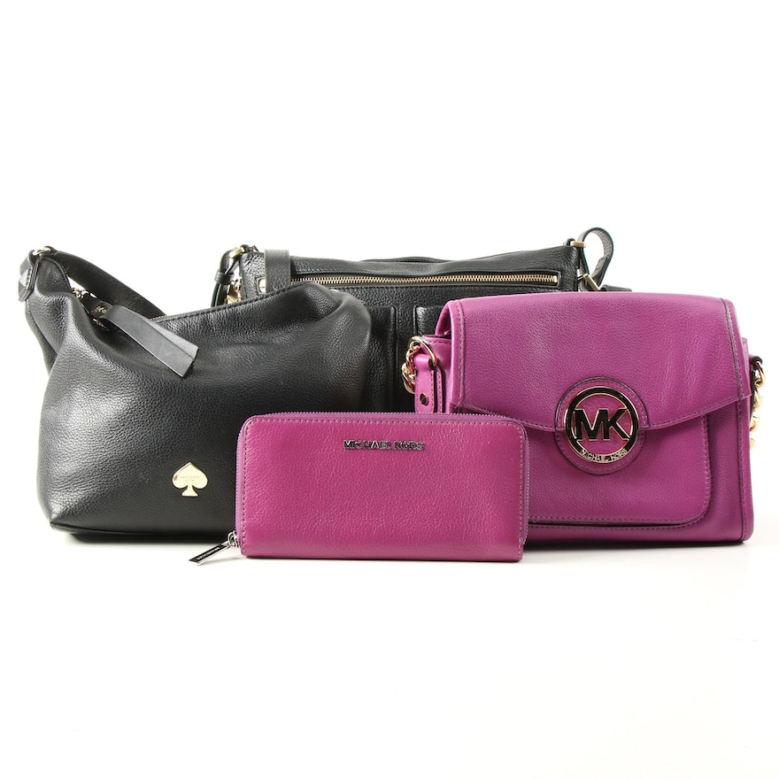 Kate Spade, MICHAEL Michael Kors and Fossil Pebbled Leather Handbags and Wallet