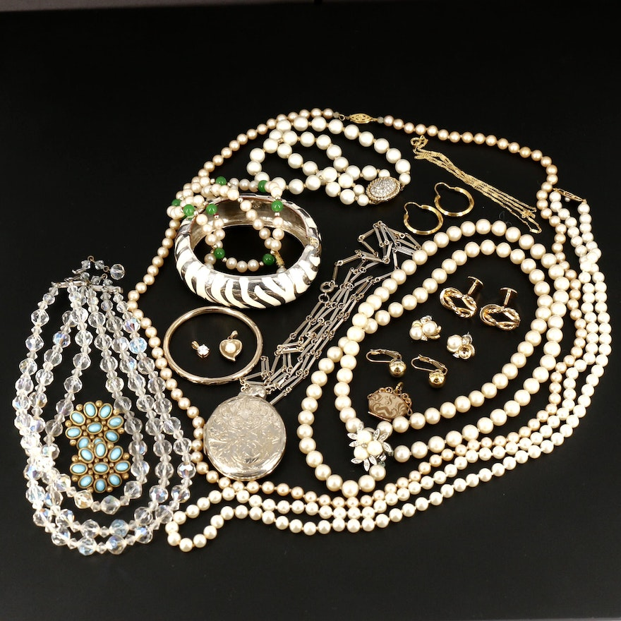 Assorted Cultured Pearl and Glass Jewelry Including Locket and Cufflinks