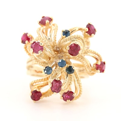 14K Yellow Gold Ruby and Blue Sapphire Ring