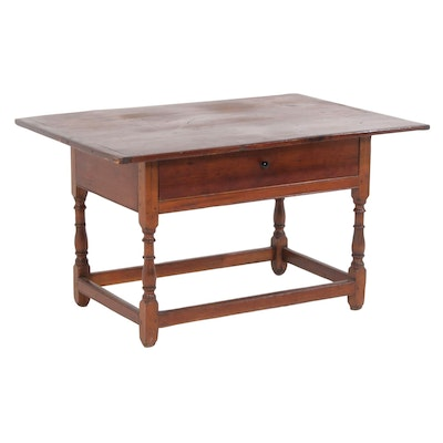 Pine Work Table with Breadboard Top, Vintage