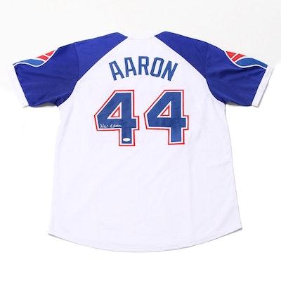 Hank Aaron Signed Atlanta Braves Replica 1974 Jersey  COA
