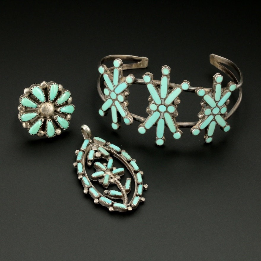 Southwestern Style Sterling Silver Turquoise Pendant, Ring, and Bracelet Set