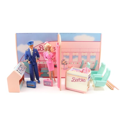 """Flight Time"" Barbie and Ken Dolls with Playset, 1989"