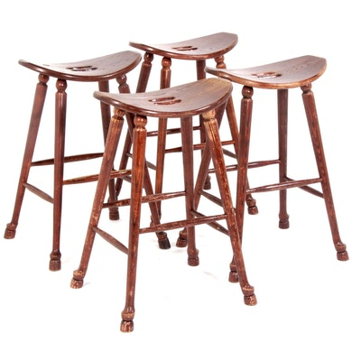 Walsh & Simmons Oak Curved Seat Bar Stools, Set of Four