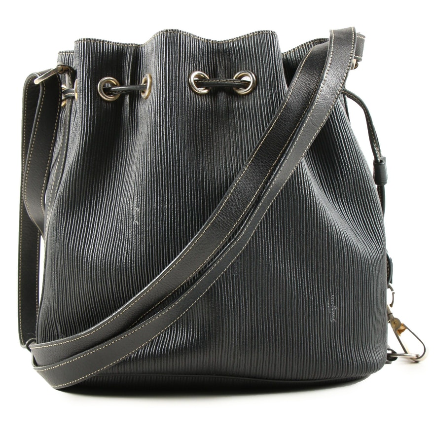Salvatore Ferragamo Ribbed Black Leather Drawstring Bucket Bag, Vintage