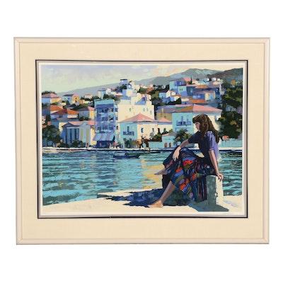 "Howard Behrens Serigraph ""Grecian Harbor"", 1986"