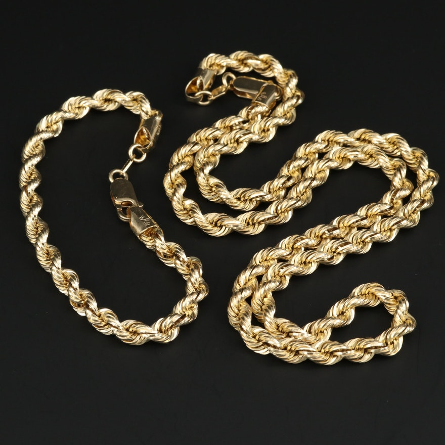 14K Yellow Gold Rope Chain Necklace and Bracelet