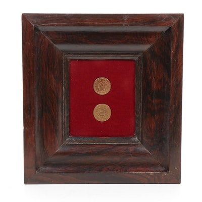 United States Braided Hair Large Cents in Wood Frame
