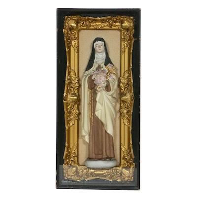 Saint Thérèse of Lisieux Devotional Shadow Box Shrine Figure