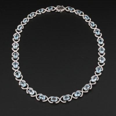 14K White Gold 45.50 CTW Aquamarine and 10.28 CTW Diamond Necklace