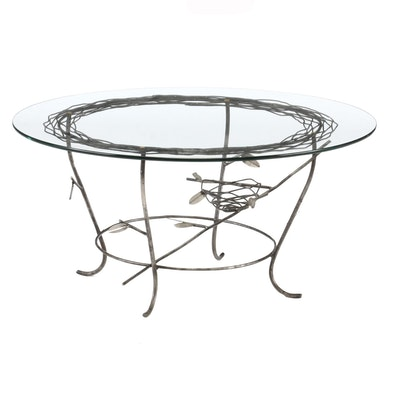Glass Top Metal Base Coffee Table, Contemporary
