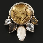 Echo of the Dreamer Sterling Cultured Pearl, Smoky Quartz and Sapphire Brooch