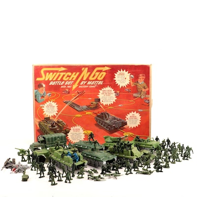 """Mattel """"Switch 'N Go"""" and Andy Gard Military Playsets with Soldiers, 1965"""