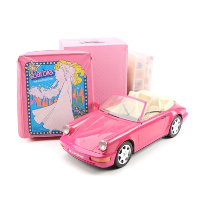 Barbie Doll Car with Clothing and Accessories in Carrying Cases