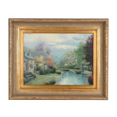"Thomas Kinkade Offset Lithograph ""Lamplight Brook"""