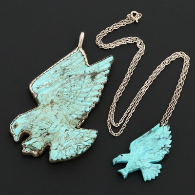 Sterling Silver Turquoise Eagle Pendant and Eagle Necklace