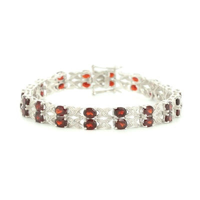 Sterling Silver Garnet and White Topaz Bracelet