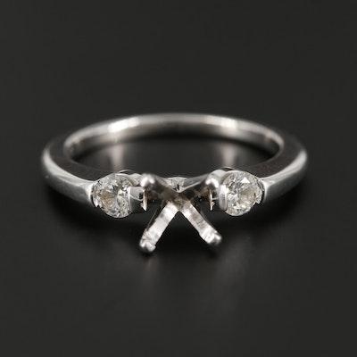 18K and 14K White Gold Diamond Semi-Mount Ring