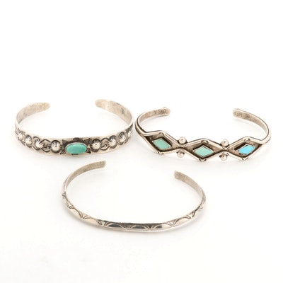 Southwestern Style Sterling Silver Turquoise Cuff Bracelets