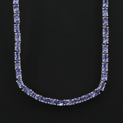 Sterling Silver Tanzanite Rivière Necklace