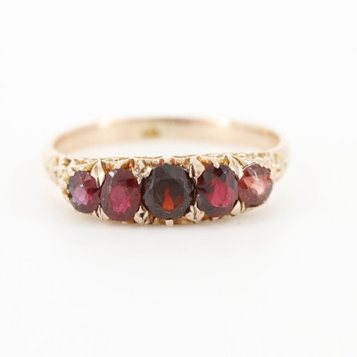 Vintage 10K Yellow Gold Garnet and Ruby Ring With Scrollwork Accents