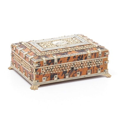 Anglo-Indian Tortoise Shell and Reticulated Bone Box, 19th Century