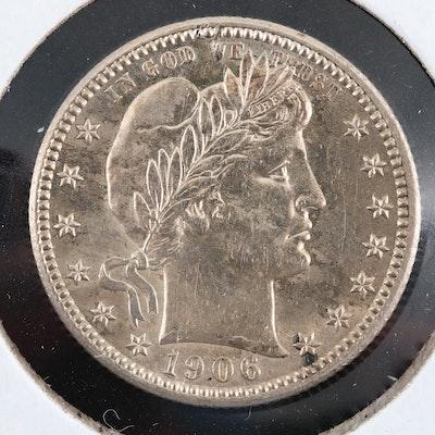 1906 Barber Silver Quarter