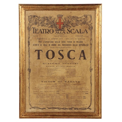 """Advertising Poster for """"Tosca"""" at La Scala Opera House, 1953"""
