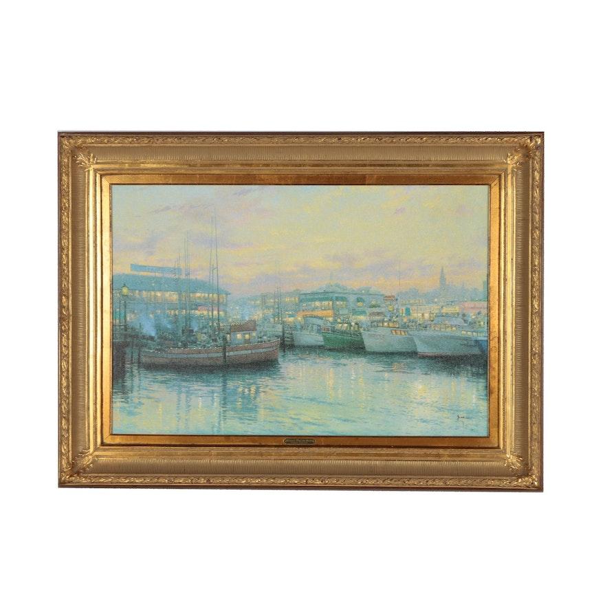 "Thomas Kinkade Embellished Offset Lithograph ""Fisherman's Wharf, San Francisco"""