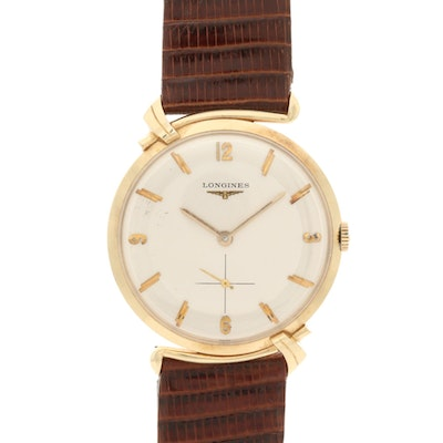 Vintage Longines 14K Yellow Gold Wristwatch with Fancy Lugs