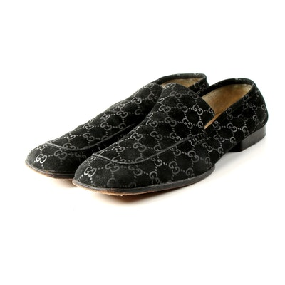 Gucci GG Monogram Black Suede Loafers