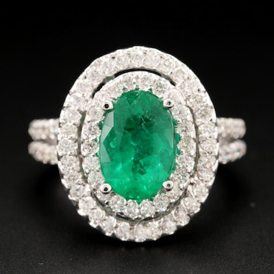 14K White Gold 1.88 CT Emerald and Diamond Ring